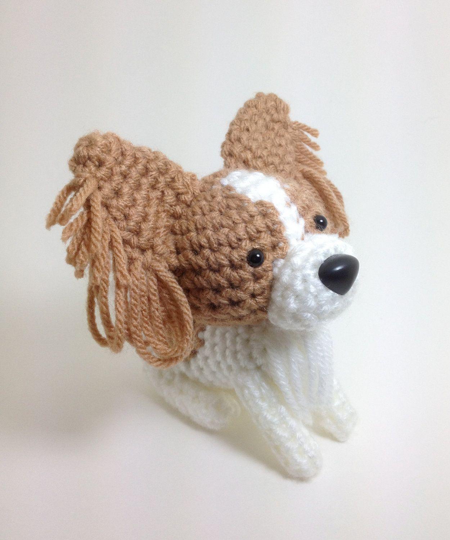 SALE / Papillon Stuffed animal Amigurumi Dog Crochet Dog / Made to Order. $21.00, via Etsy.