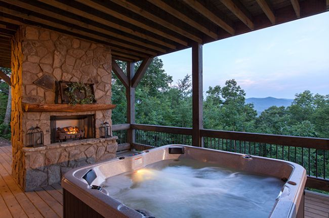 Cohutta Sunset Cabin Rentals Of Georgia Hot Tub On The Covered Porch Overlooking Gorgeous Mountain Vie Cabin Hot Tub Georgia Cabin Rentals Hot Tub Outdoor