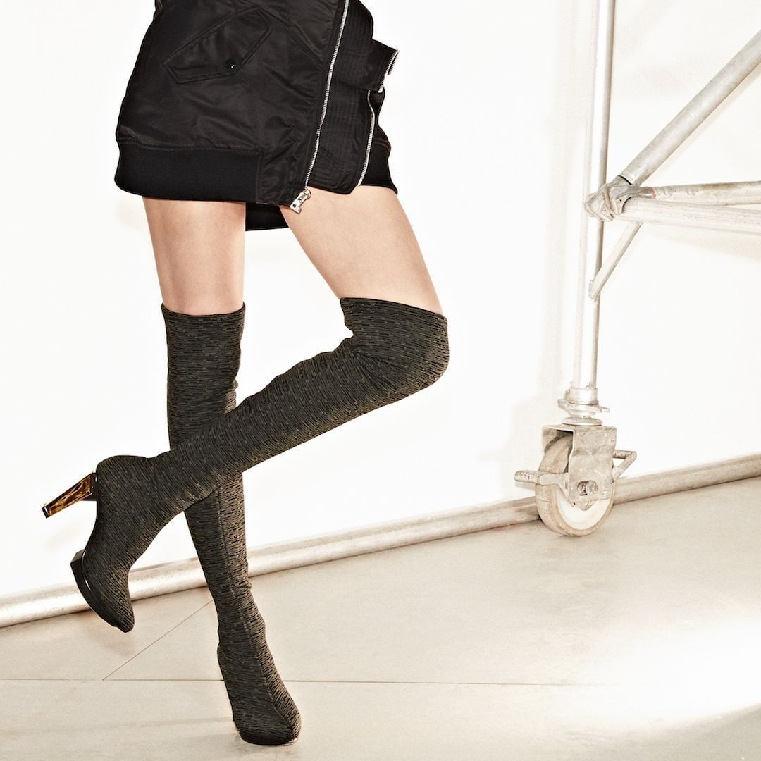 090d5e9b2989 The statement making shoe of the season  the LEV Thigh Boot in olive.   unitednude