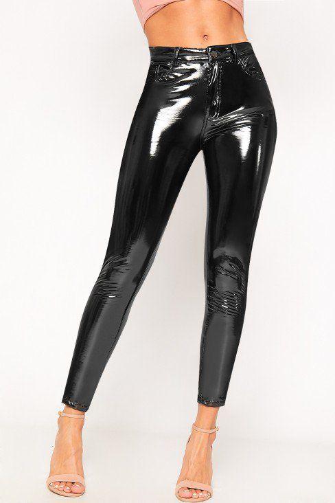 8aa1d8cd27c5 Aurora High Shine Vinyl Skinny Trousers | WearAll Vinyl Trousers, Trouser  Pants, Trousers Women