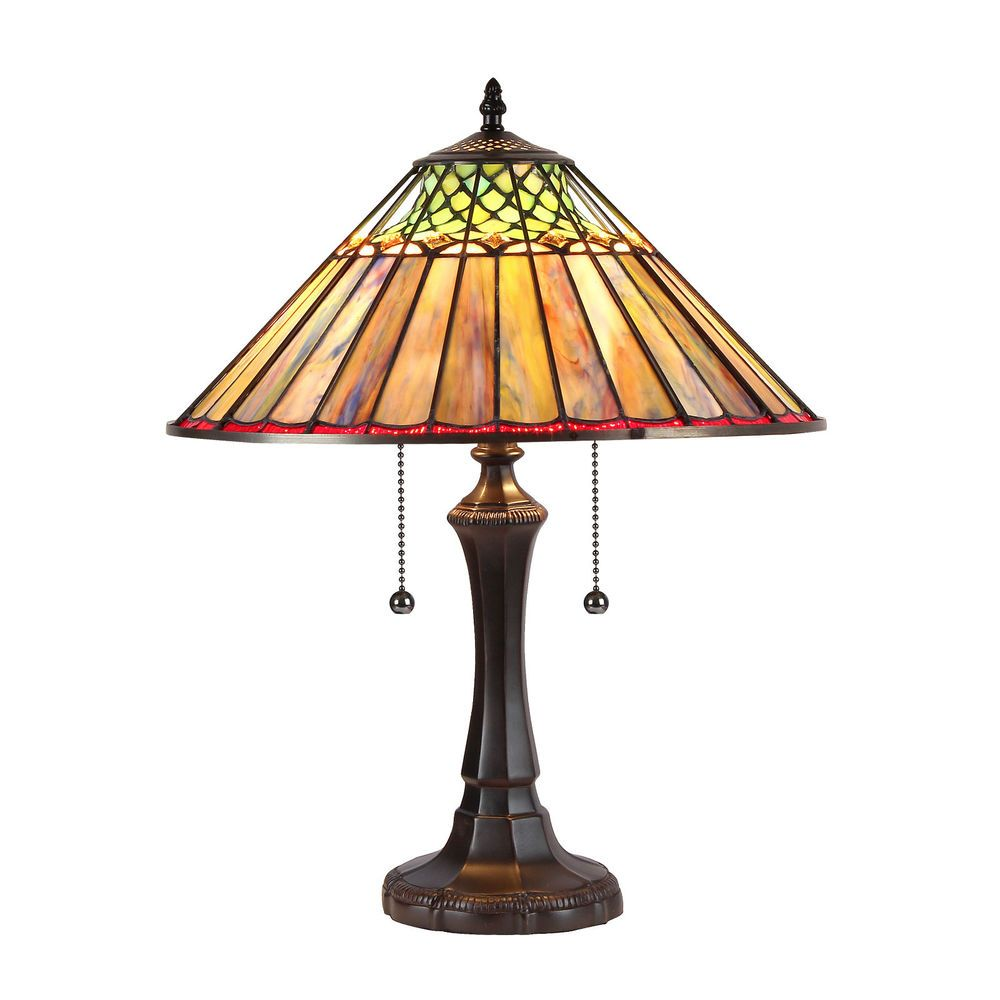 """CH35002BG16-TL2 Grace Geometric Tiffany Style Stained Glass Table Lamp 16"""" Shade #ChloeLighting #StainedGlass"""
