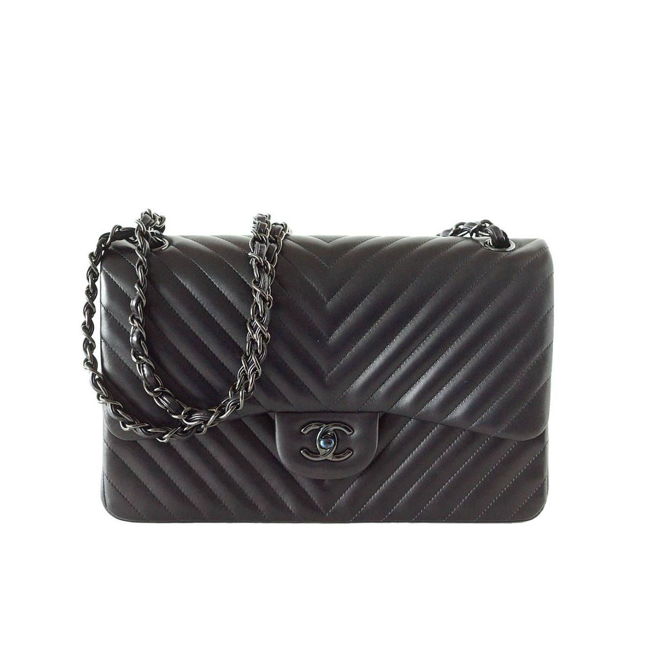 Chanel handbag superb vintage chanel bag vintage leather - Bag Chanel Bag Chevron So Black Jumbo Classic Double Flap