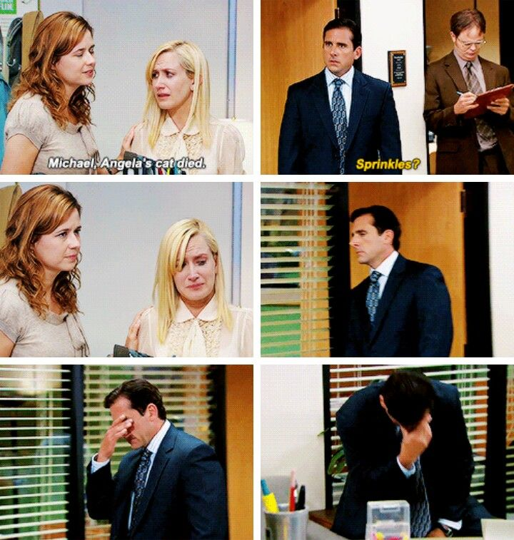 the office gifset- Michael Scott, Pam Beesly, and Angela from the office.