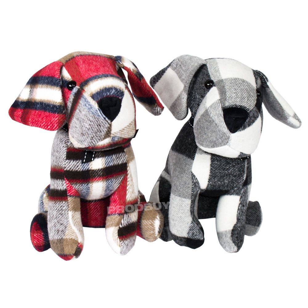 Animal Door Stops Uk Check Fabric Dog Door Stop Novelty Cute Weighted Stopper Animal