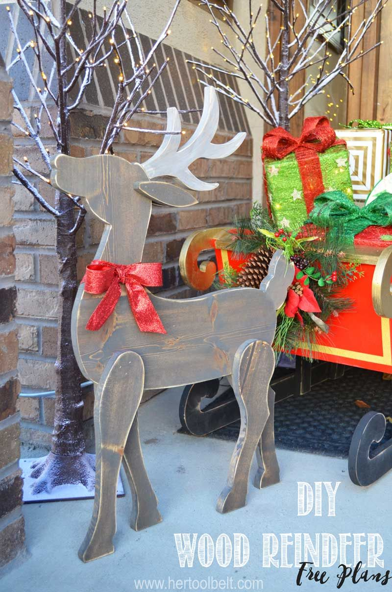 make a cute diy wood reindeer from a simple 1x8 board free printable pattern
