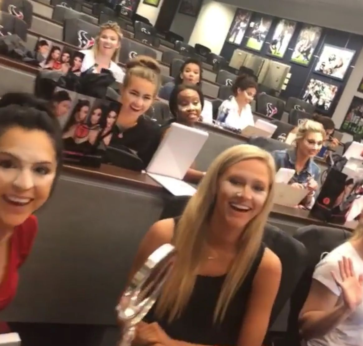 Houston Texans cheerleaders makeup lesson Texans
