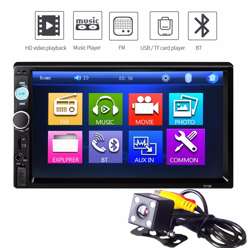 """2 Din Car Radio Audio Stereo MP5 Player Support 7/"""" Bluetooth Touch Screen Camera"""