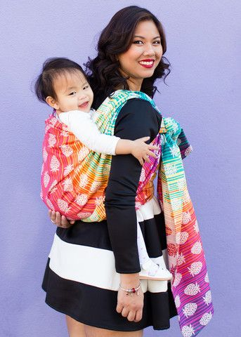 21390ef3cb1 Baby Tula s Berry Sweet - Woven Wrap Baby Carrier (Strawberry Baby Carrier).  An adorable pattern of strawberries is placed upon an vibrant rainbow  gradient ...