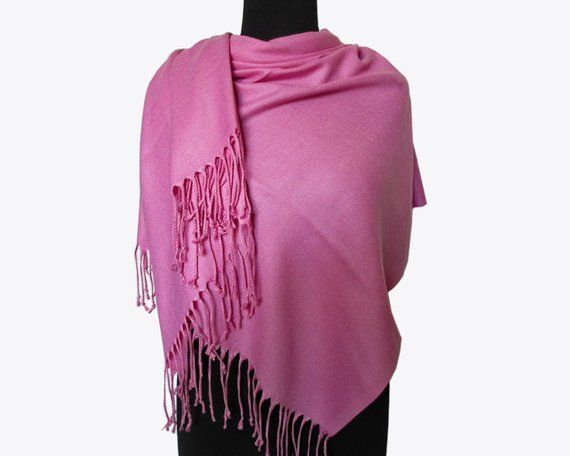 728afd299 Pink Pashmina Scarf, Cashmere Scarf, Christmas Gifts for Women, Hot Pink  Long Pashmina