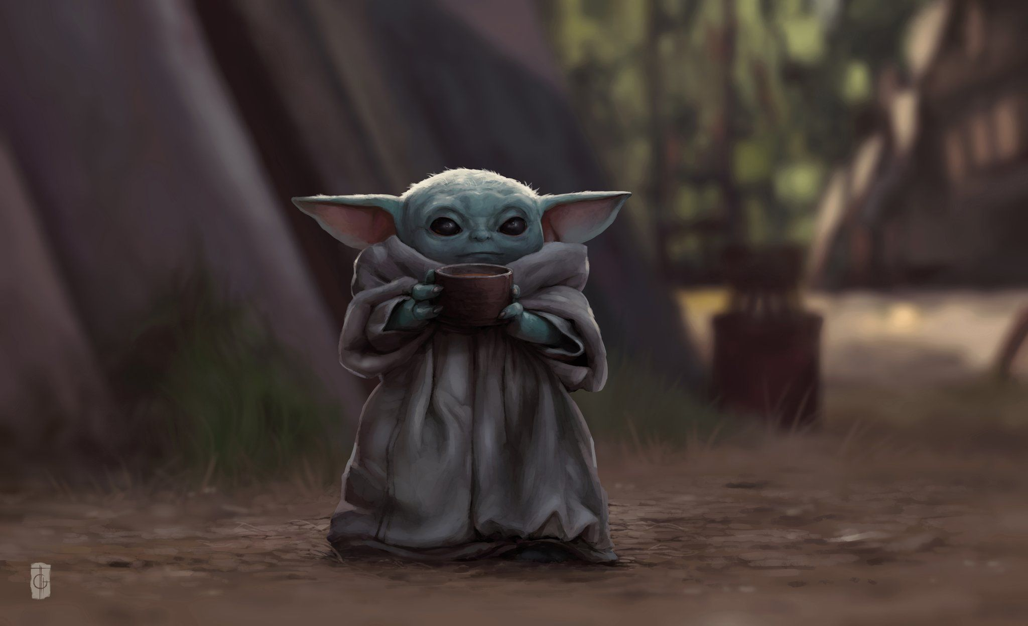 The Child With Cup An Art Print By Rodney Amirebrahimi Yoda Images Yoda Mandalorian