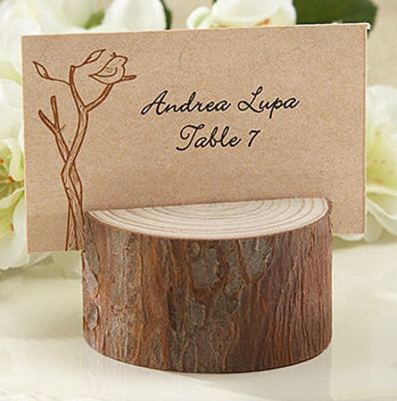 rustic realwood place card photo holder set of wedding party favors and supplies