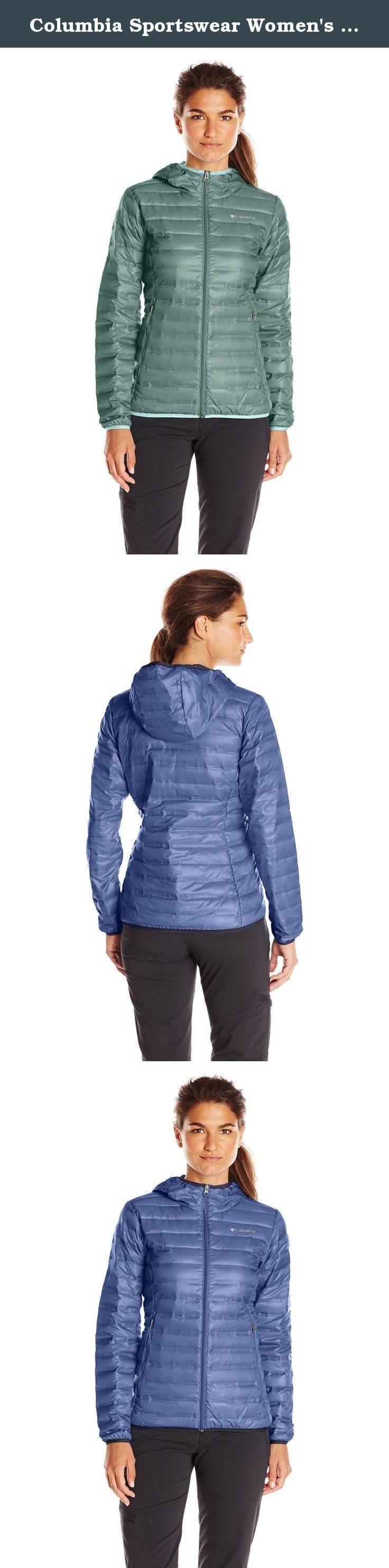 "Columbia Sportswear Women's Flash Forward Hooded Down Jacket. When the weather turns chilly, this lightweight, packable 650 fill-power hooded down jacket will help keep you warm and snug. HEAT SEAL ""no-sew"" bonded baffles reduces water penetration and keeps down from migrating, giving it a modern, sleek and streamlined aesthetic. Perfect for mild winter conditions or as a layering piece on colder days. Material: Polyester."