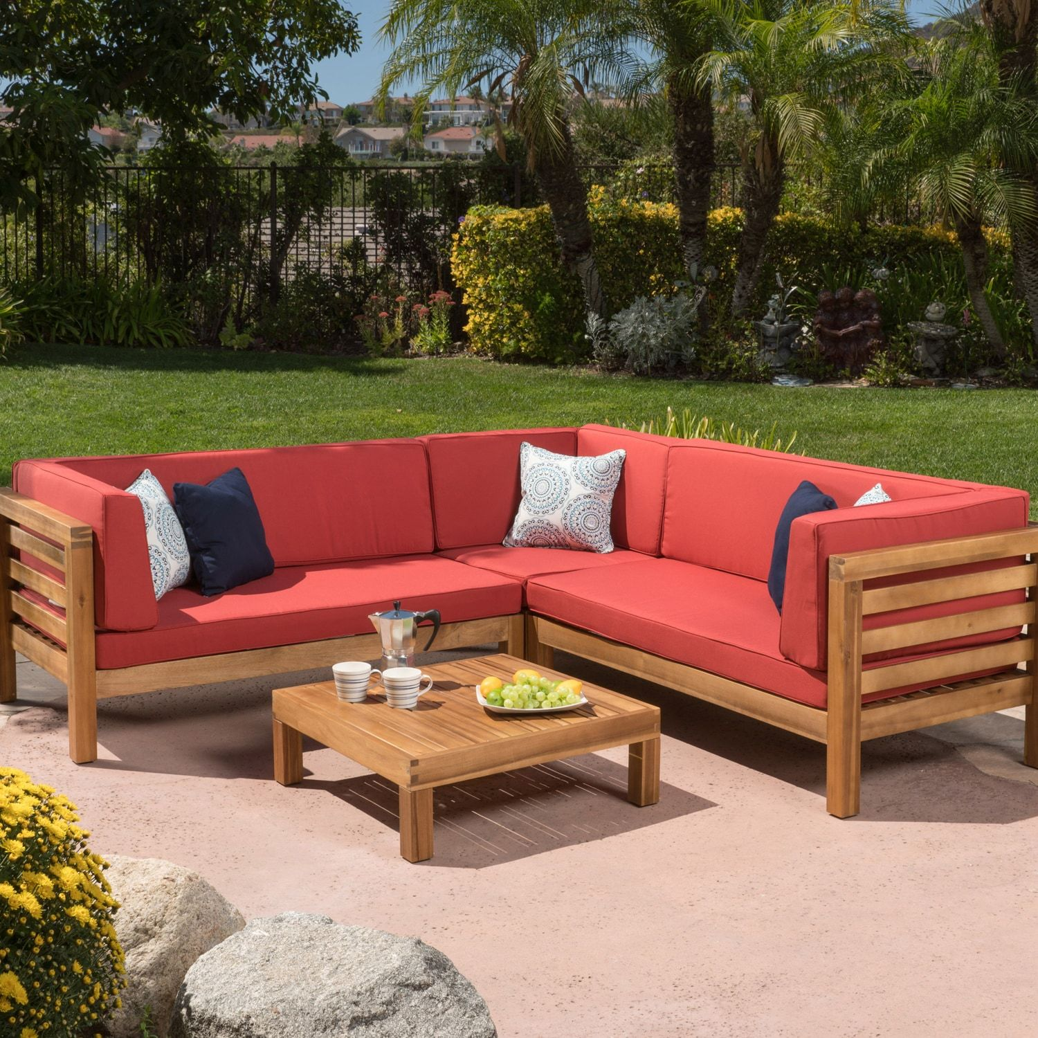 Oana Red 4 Piece Outdoor Wooden Sectional Set