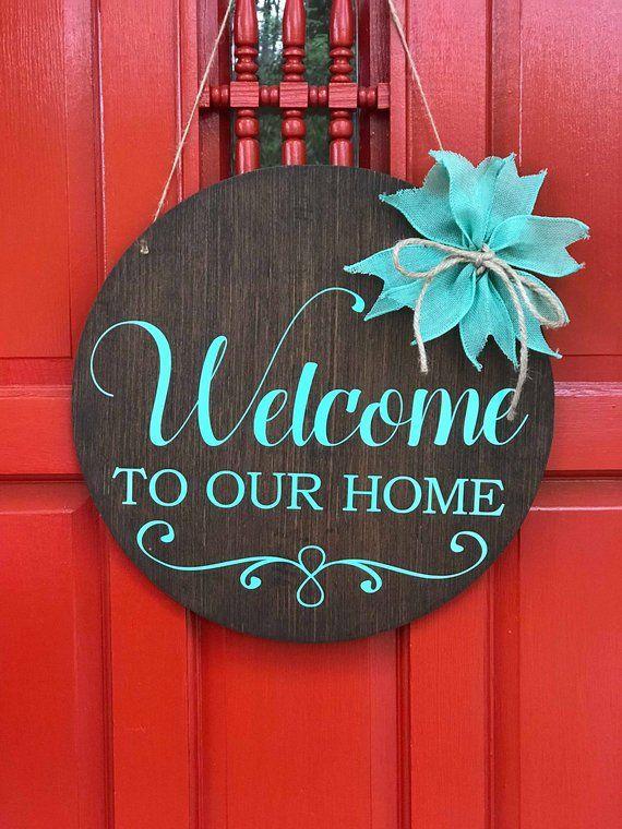 Welcome To Our Home Front Door Round Door Hanger Farmhouse Style Welcome Sign Welcome Door