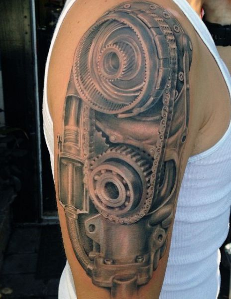 50 Mechanic Tattoos For Men - Masculine Robotic Overhauls ...