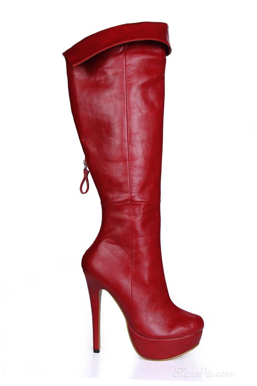 c9b26d43bce1 Wine Red Back Zipper Stiletto Heel Knee High Boots   SHOES ...