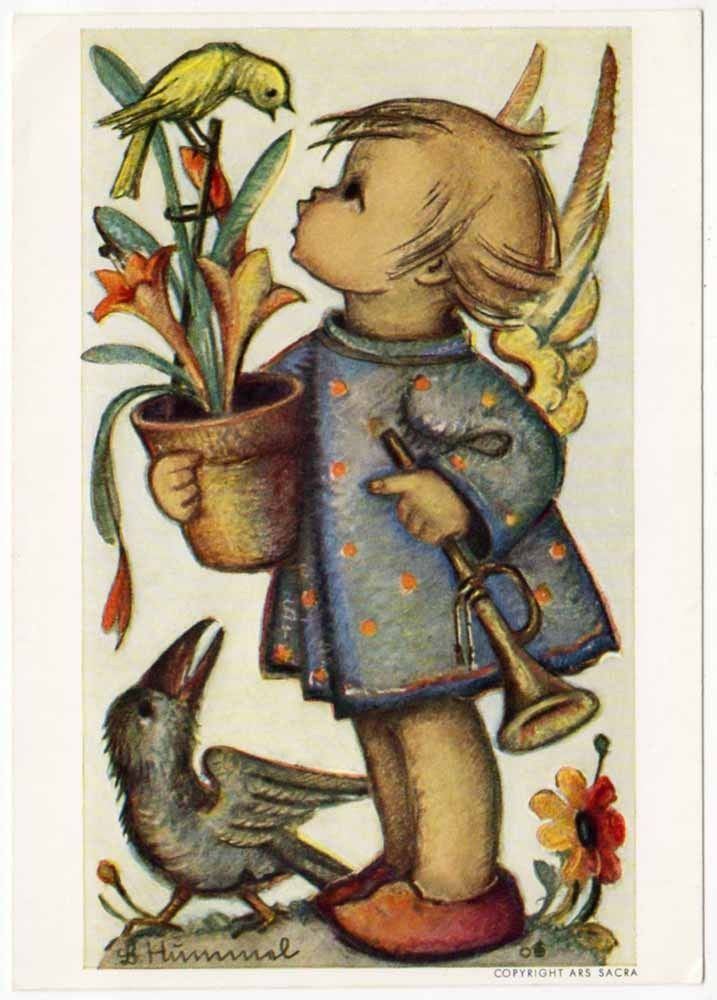 Hummel Artist Postcard of An Angel Girl Talking to A Bird on A Potted Plant | eBay