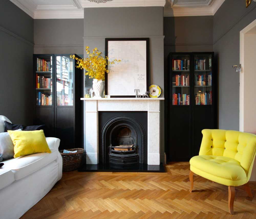 Pale Grey Living Room With Yellow Fireplace: Gray And White With A Pop Of Yellow, Portfolio