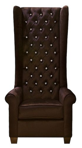 8030 TALL BROWN WINGBACK CHAIR WITH SWAROVSKI CRYSTALS This