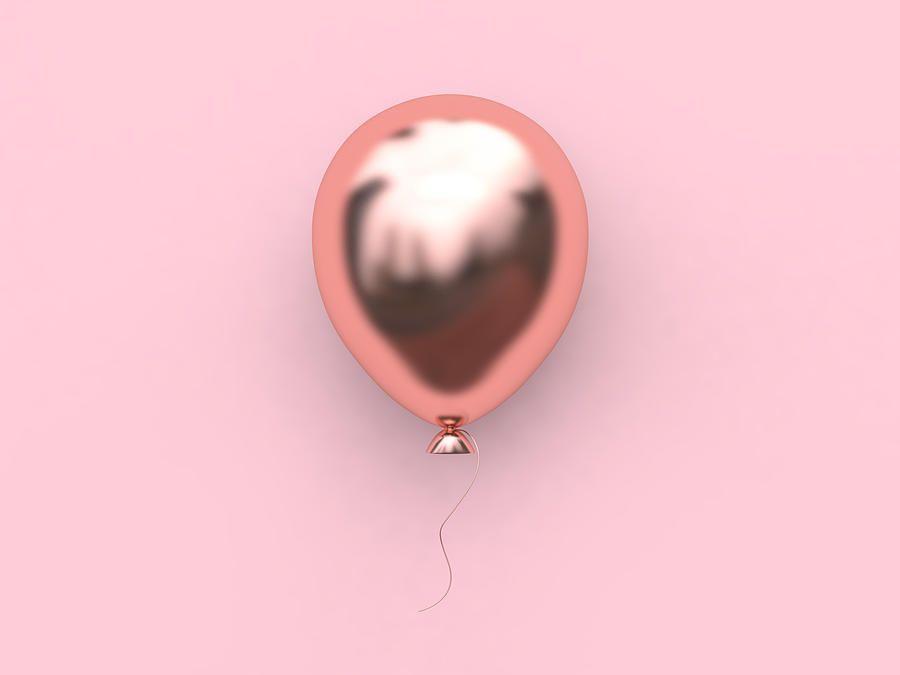 3d Rendering Pink Metallic Rose Gold Reflection Balloon Abstract Minimal Pink Background ...