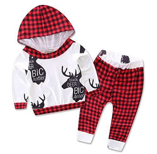 fa8bc5e02 Toddler Infant Baby Boys Girls Deer Long Sleeve Hoodie Tops Sweatsuit Pants  Outfit Set 1218M red >>> Read more reviews of the product by visiting the  link ...