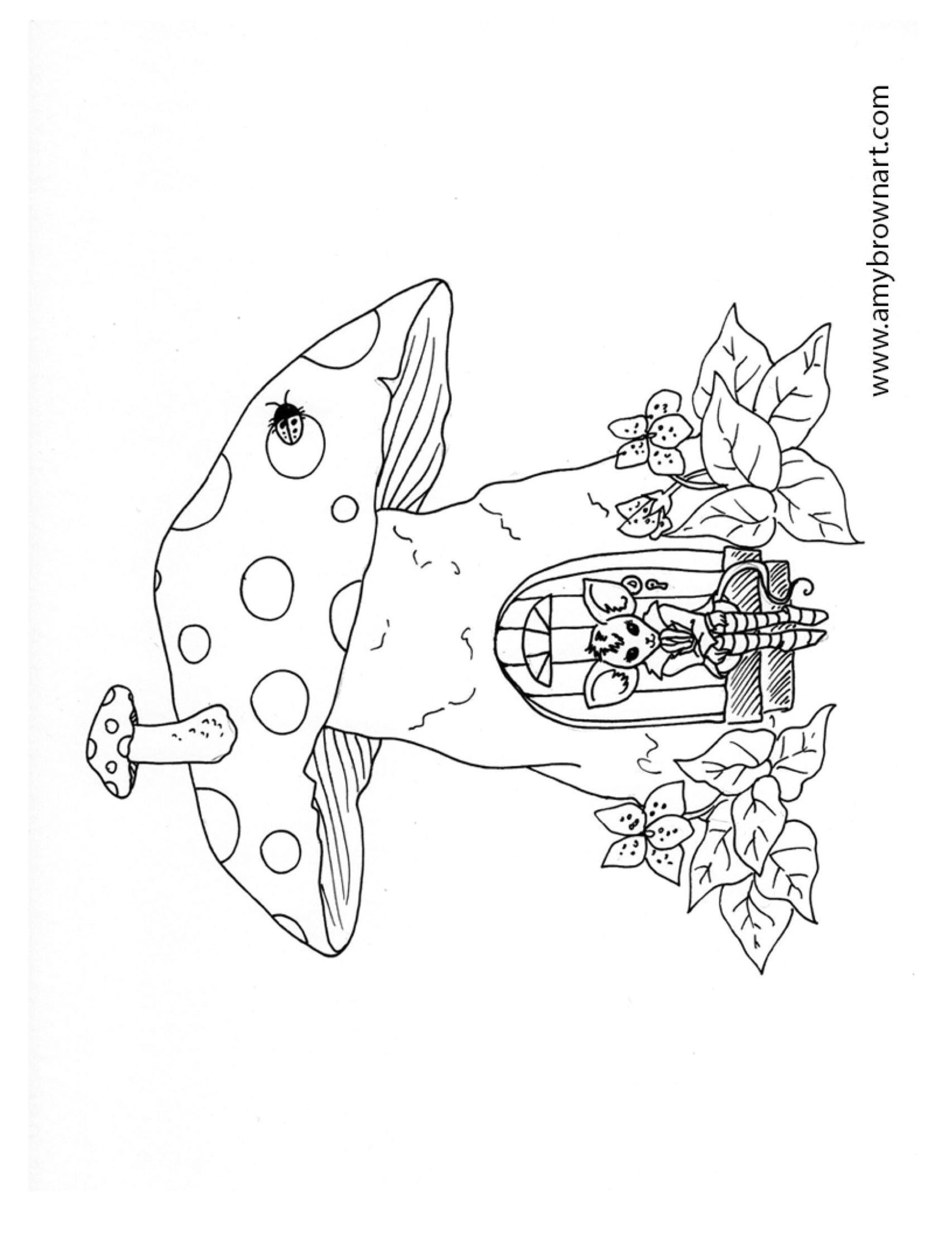 Free Adult Coloring Page Fairy Mushroom House With Images
