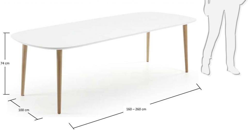 Eettafel oqui wit bruine poten ronde hoek 160 260 cm