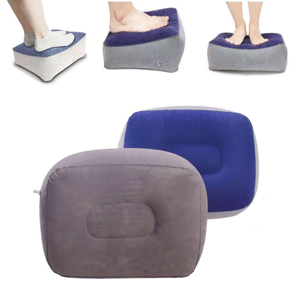 Inflatable Car Flight Travel Nap Foot Rest Air Cushion Pillow Pad ...