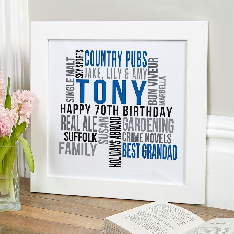 Personalised 70th Birthday Gift For Him Of Text Art Royal Blue Noir Colour Option Beautiful Word Gifts To Commemorate A Landmark