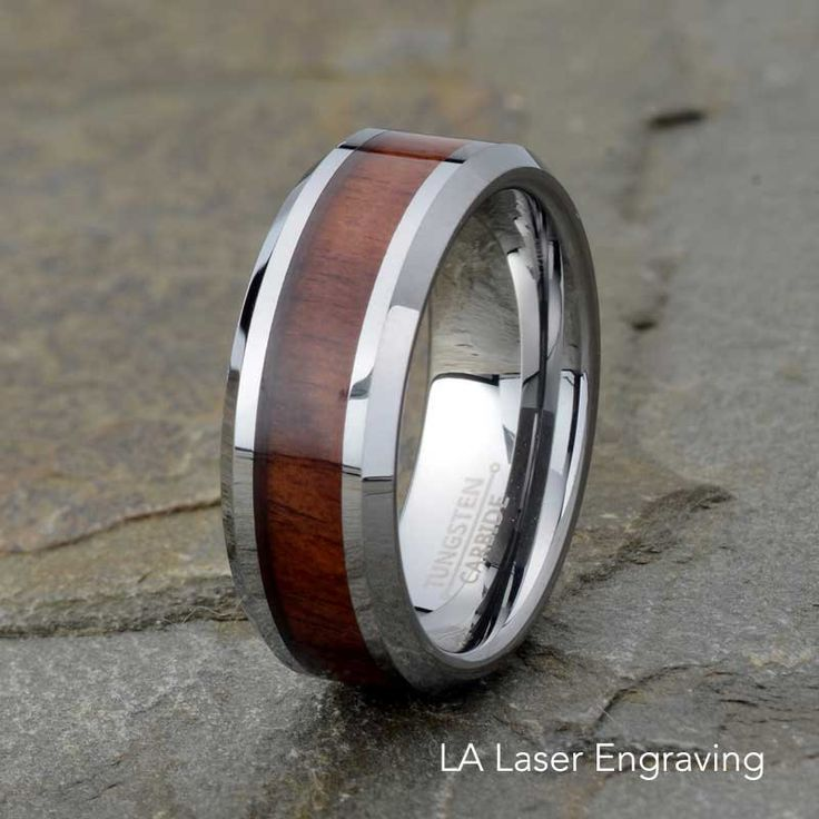 Wooden Tungsten Wedding Band Mens Ring Polished Wood Inlay