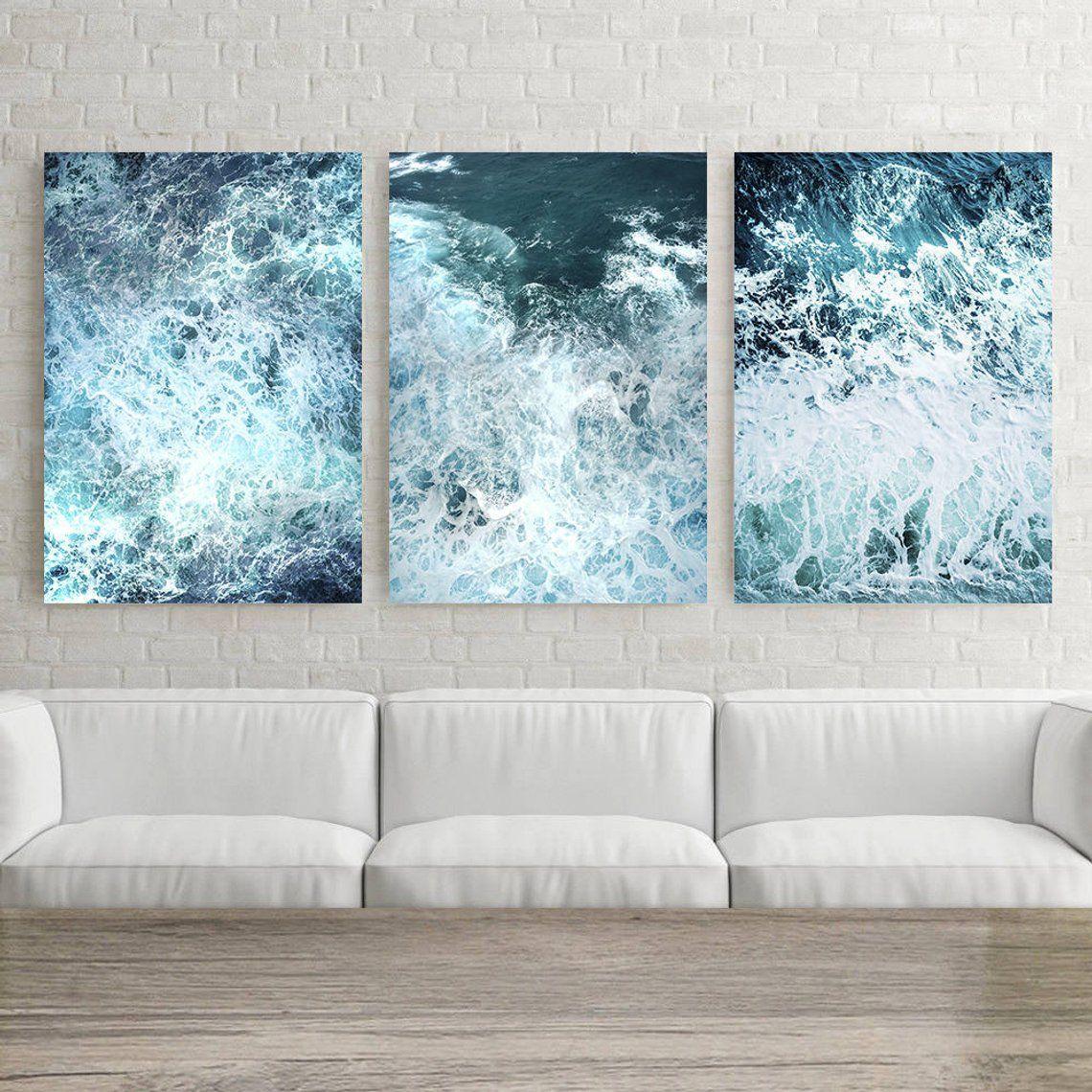 Ocean Wave Print 3 Piece Wall Art Ocean Poster Decor 3 Etsy In 2021 3 Piece Wall Art Ocean Wall Art Wave Print
