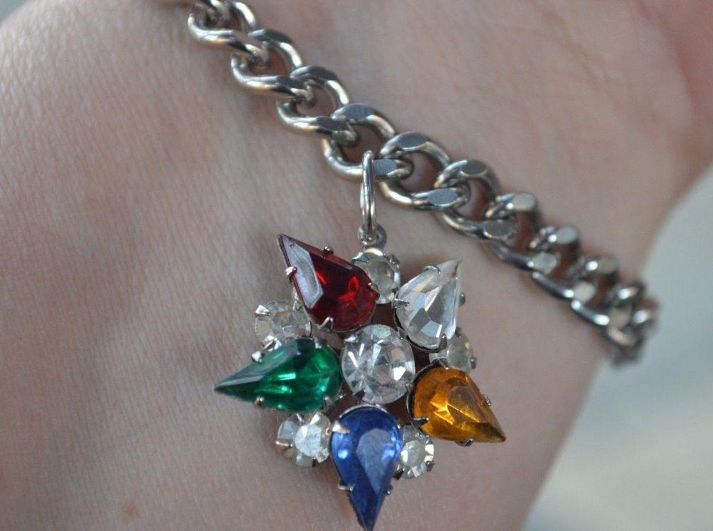 Sold Vintage Silver Sp Order Eastern Star Oes Charm Bracelet Fraternal Mason Jewelry Unbranded Charmvintageordereasternstaroesjewelry