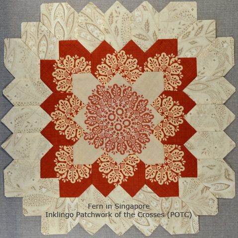 Inklingo Patchwork of the Crosses by Fern in Singapore  - Not with English Paper Piecing - Sewing line printed with Inklingo