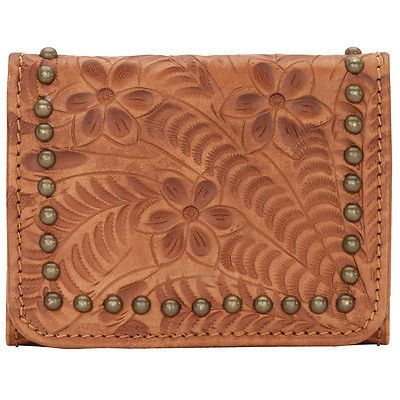 American West Navajo Soul Ladies Try Fold Wallet Western Leather Tan
