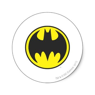 Batman symbol bat circle logo classic round sticker