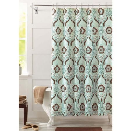 blue and brown shower curtain fabric. better homes and gardens Newcastle shower curtain blue brown