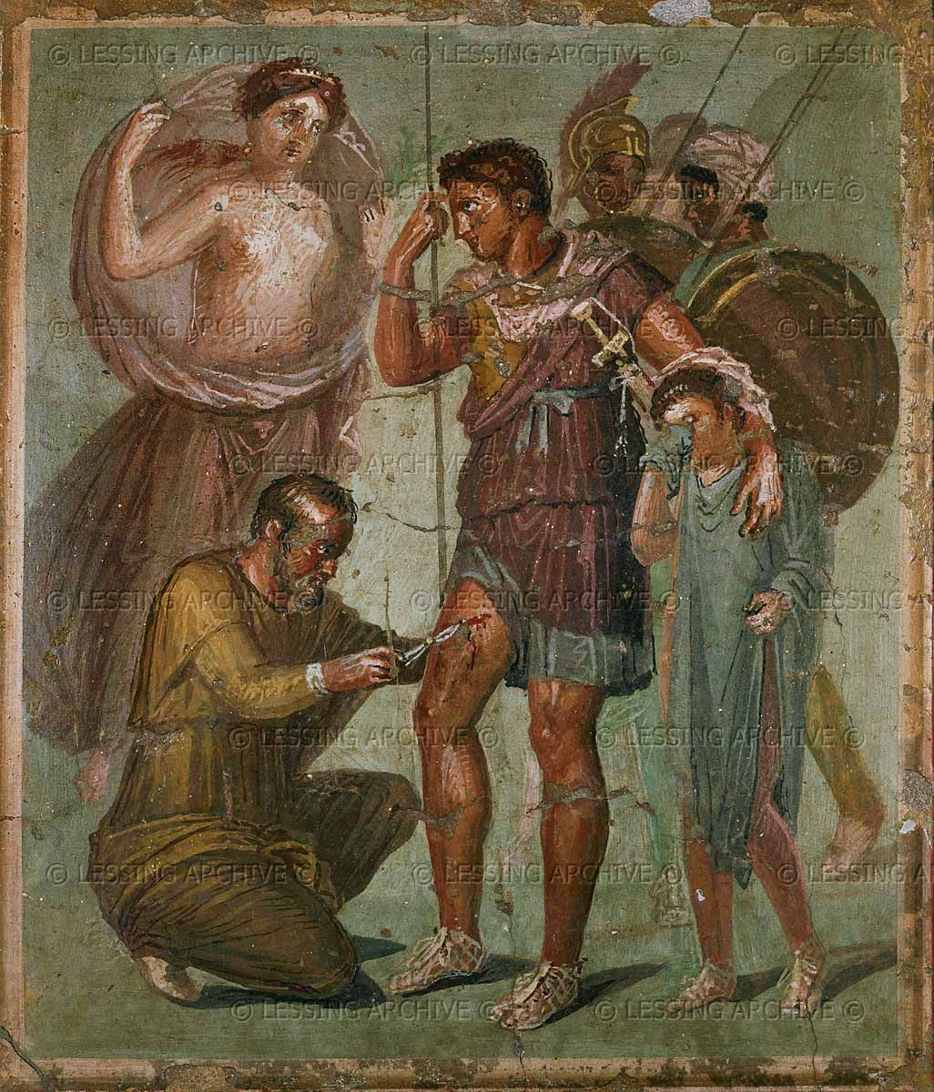 11 01 02 33 roman mural 1st 3rd ce wounded aeneas between for Ancient roman mural