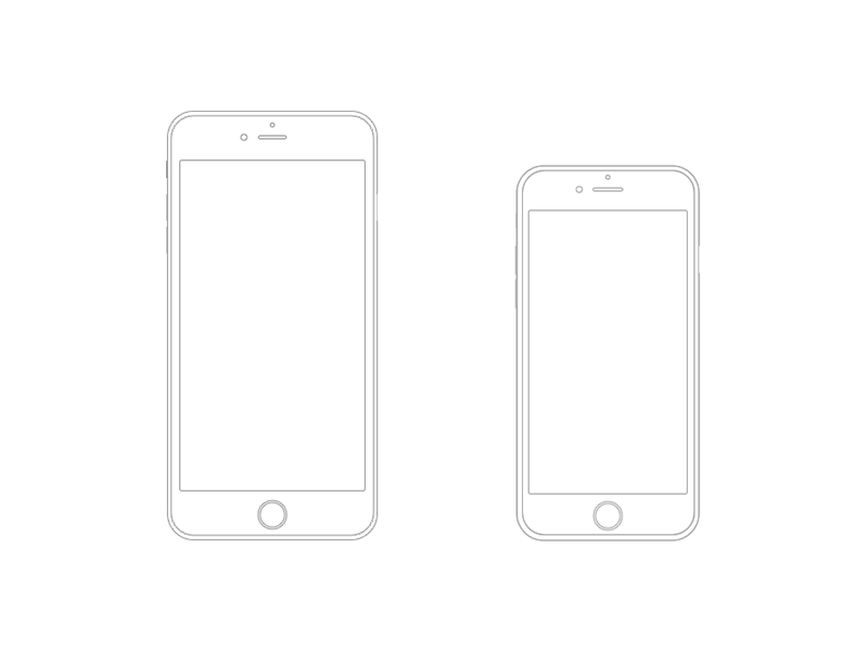 iphone 6 plus and iphone 6 wireframe wireframe iphone 6 and iphone. Black Bedroom Furniture Sets. Home Design Ideas