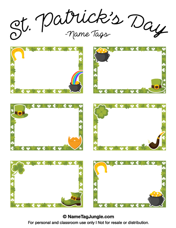 free printable st patrick s day name tags the template can also be