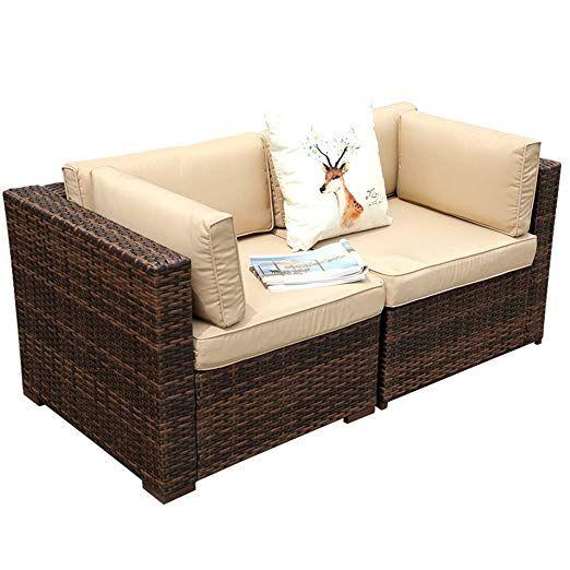 Patio Loveaseat 2 Corner Sofa Chairs All Weather Brown Pe
