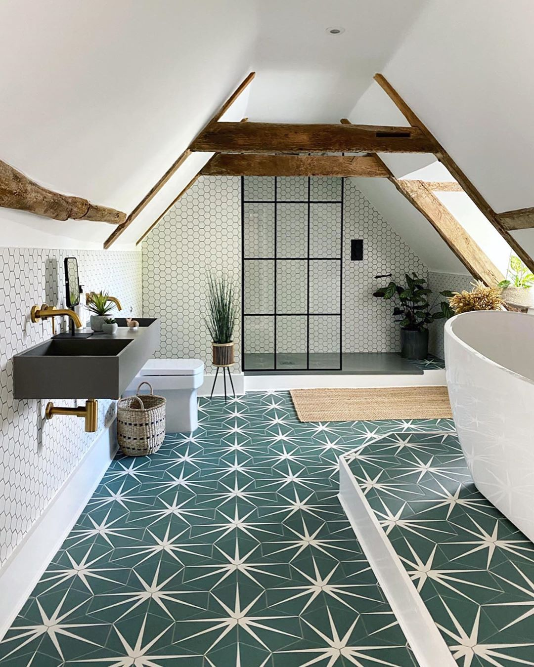 House Beautiful Uk On Instagram Loveyourspace A Super Stylish Bathroom Loft Extension From Renovating The Hou In 2020 Loft Bathroom Bold Bathroom Tile Tile Trends