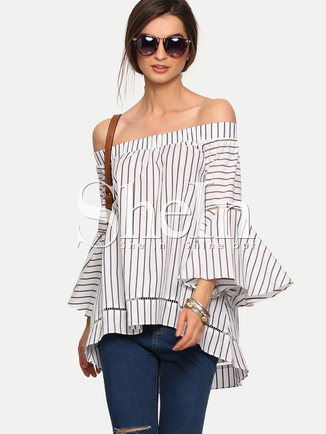 Bardot Bell Sleeve Vertical Striped Blouse