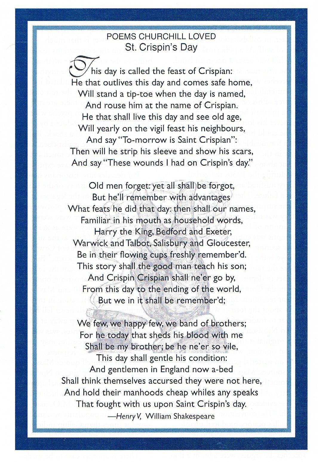 St Crispin's Day Speech