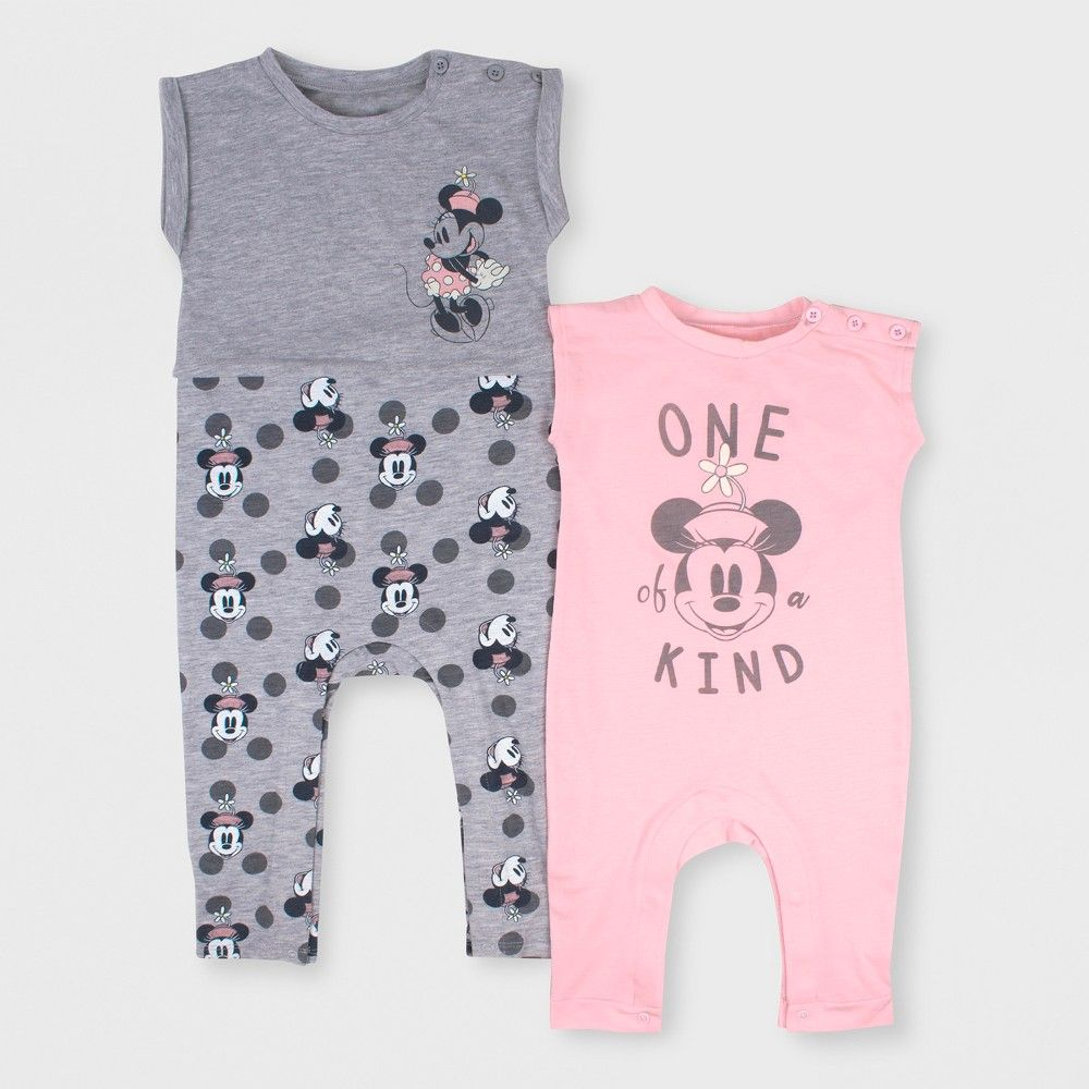 c2f4682ca08 Baby Girls' Disney Mickey Mouse & Friends Minnie Mouse 2pk Short Sleeve  Romper Set - Pink/Gray 24M, Multicolored