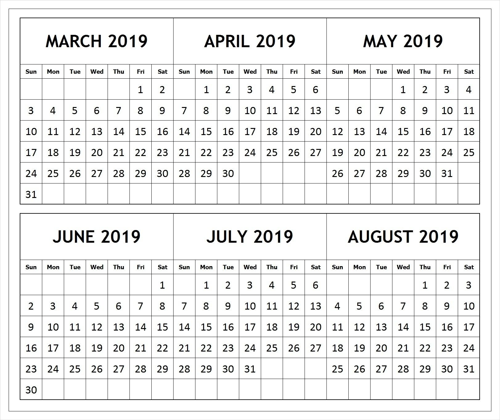 Collect Free Printable Calendar 2019 3 Months June July August