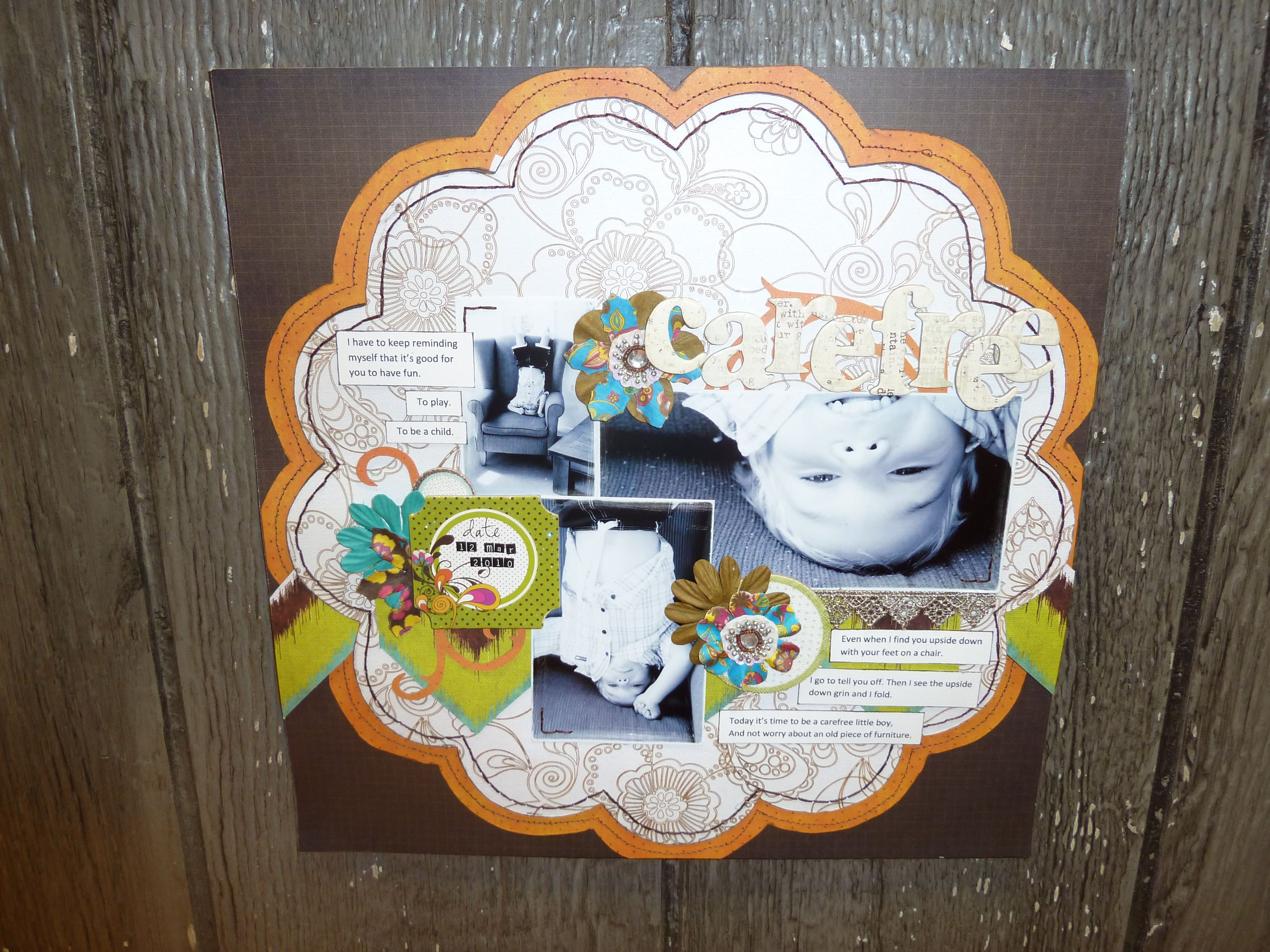 This page uses a scalloped round paper that makes it easy and super cute too.