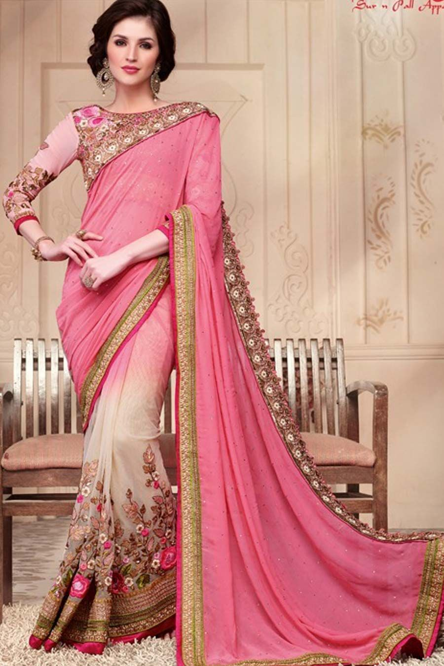 Pink Georgette + Net Wedding Saree With Blouse | Indian Sarees ...