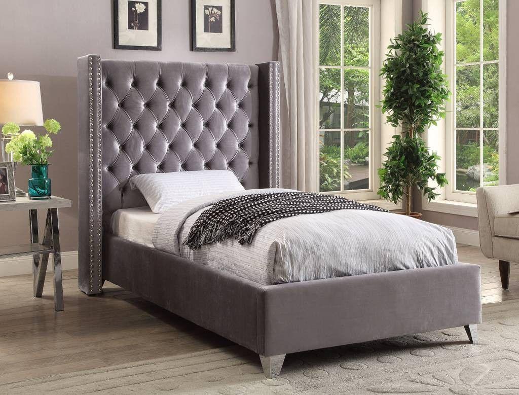 Meridian Aiden Grey Velvet Twin Bed Aidengrey T Meridian