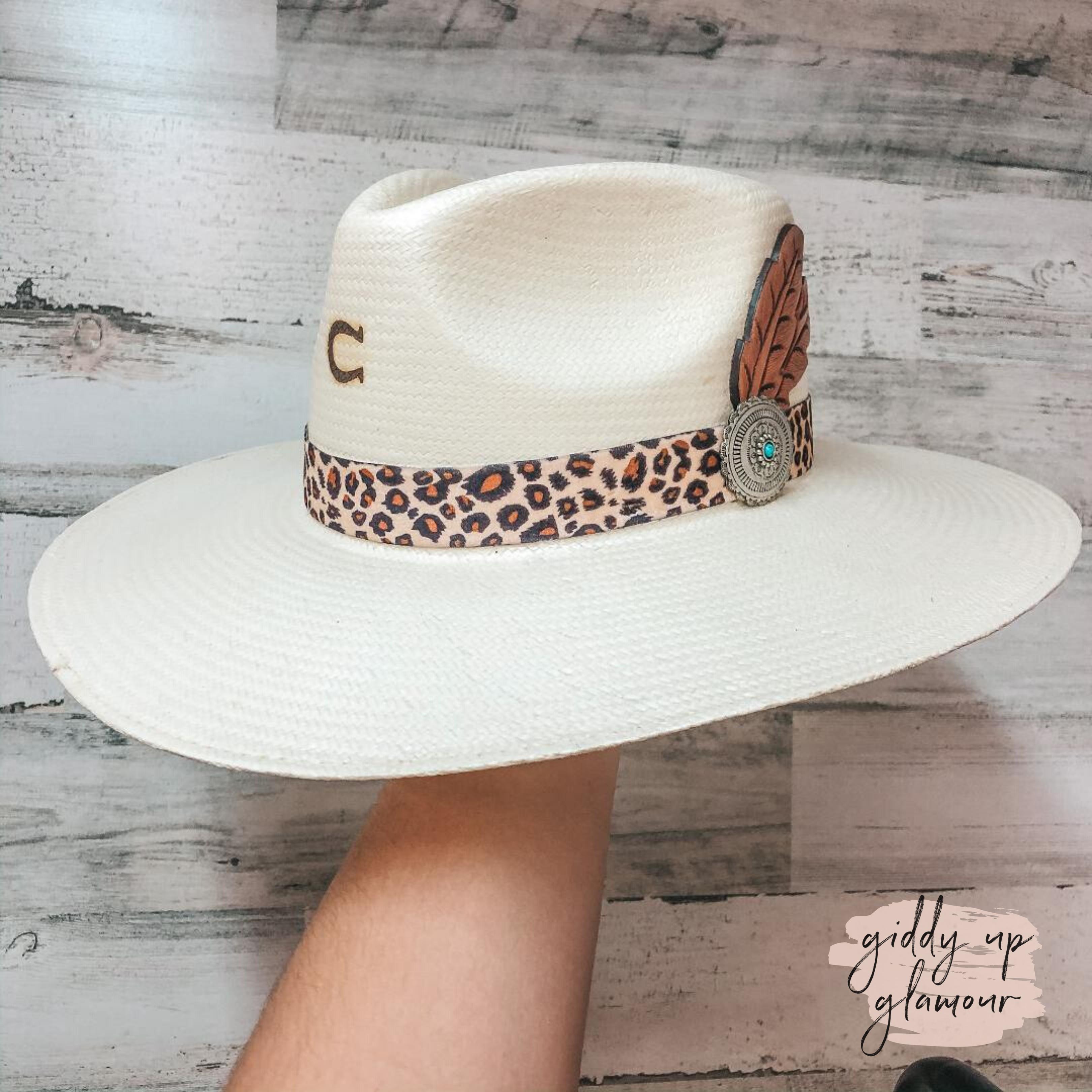 Charlie 1 Horse Heatseeker Straw Hat With Leopard Band Cowboy Hat Bands Straw Hat Straw Cowboy Hat