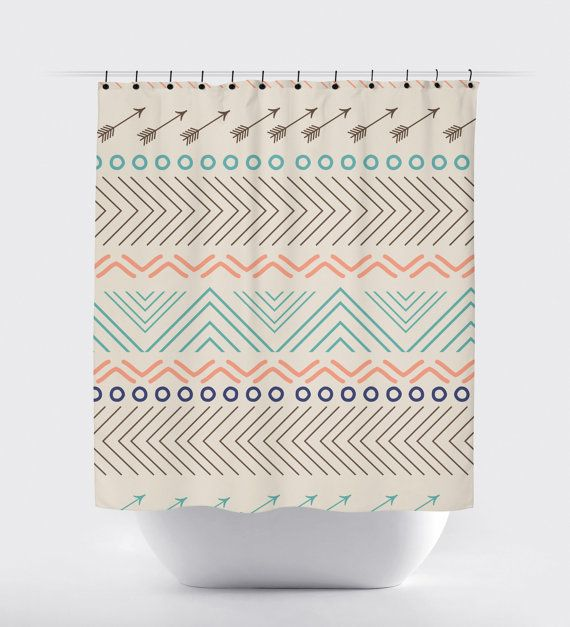 Coral And Turquoise Fabric Shower Curtain High By Printartshoppe